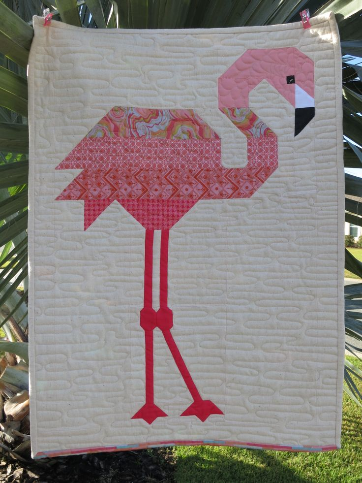 "Florence Flamingo, 20"" X 28. One block of the pattern by Elizabeth Hartman. Background fabric is natural linen."