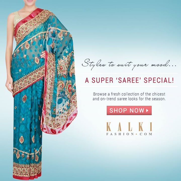 SPECIAL SAREE STYLES!  This festive season dress up in your saree best! Choose from our varied range of special sarees!  Shop online at kalkifashion.com or visit stores @Worli or @Santacruz