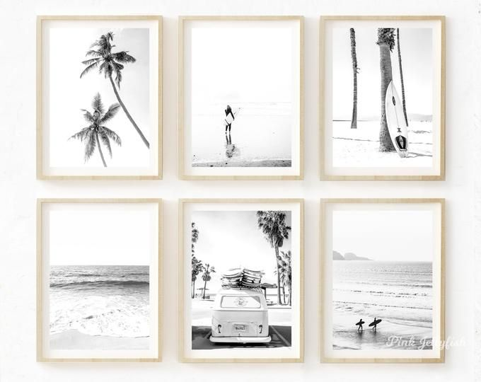 Set Of 6 Black And White Nature Prints Printable Art Coastal Etsy Gallery Wall Photo Wall Gallery Art Gallery Wall