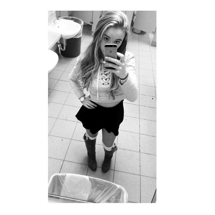 Im 52 I wanna dance with you Im sophisticated fun #missyelliot #ciara #onetwostep #shortasfrick #avrage #skirts #winterfashion #bootseason #legwarmers #bathroomselfie #mirrorselfie #mkwatch #croptop #durhamcollege #DA #dentalassistant #screwthestrike #missingmolly and loving the garbage it looks like the way I feel