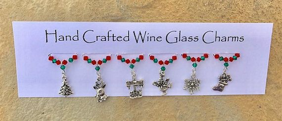 Christmas Wine Glass Charms - Table Decorations - Teachers Gifts - Stocking Fillers - Christmas Gifts