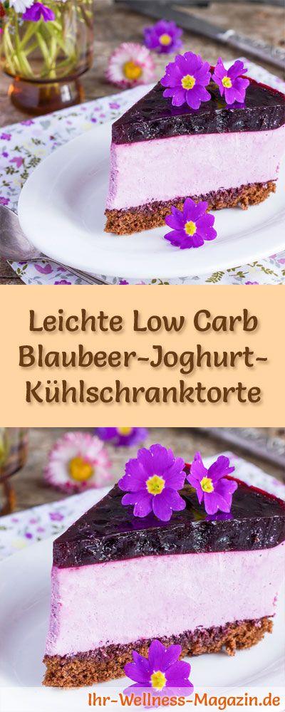 Rezept für eine leichte Low Carb Blaubeer-Joghurt-Kühlschranktorte - kohlenhydratarm, kalorienreduziert, ohne Zucker und Getreidemehl (Vegan Sweets No Bake)