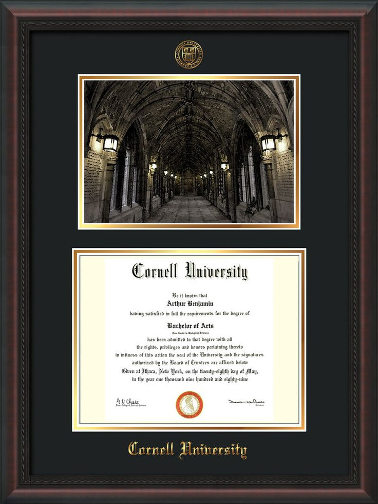 Cornell U Diploma Frame-Mahog Braid-War Memorial Photo-Black on Gold – Professional Framing Company