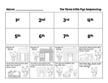 After listening to the story of the 3 little pigs, this freebie is great for students to retell and sequence the story independently, whole group, or small group.: