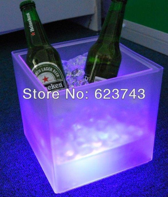 Plástico levou balde de gelo, Mudança de cor de plástico balde de gelo, Gelo luminoso balde de gelo mais frio, Brilho barril de cerveja, Barril de vinho alishoppbrasil