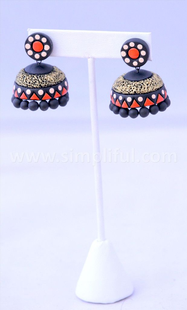 Terracotta Large Jhumka - Design 1