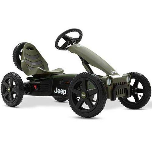 Trampbil BERG Gokart Jeep Adventure är den perfekta trampbilen för barn 4-12 år. Säte och ratt är justerbara så barnet kan växa med trampbilen. De fyra terrängdäcken gör trampbilen superstabil och luftgummidäcken ger extra komfort. Trampbilen är smidig och enkel att trampa. Det går också bra att trampa bakåt. Det unika BFR-systemet gör att du kan trampa, bromsa och backa med hjälp av tramporna, vilket gör trampbilen mycket lättmanövrerad.  Fakta Luftgummidäcken ger extra komfort…