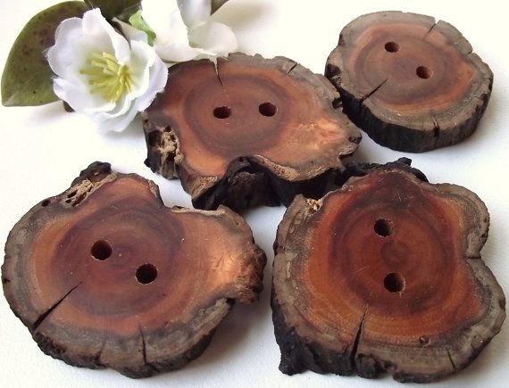 Wooden Buttons  4 EcoFriendly Rustic Wood Tree by ARemarkYouMade, $8.95