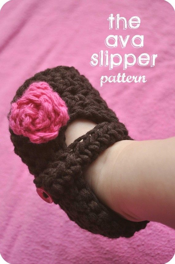 The Ava Slipper Baby Booties Crochet PATTERN from msybrowsky etsy shop