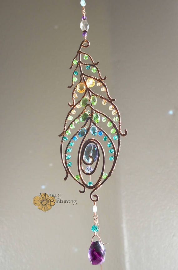 2017/07/07 SALE Super sparkly Peacock feather gemstone suncatcher, Swarovski crystal hanging wire art, home window decor patio garden decoration - Etsy $120.66 CDN