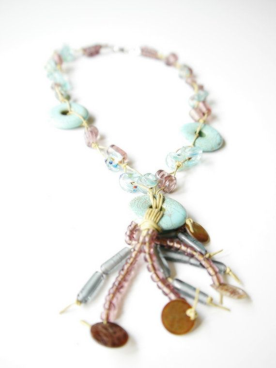 Raindrops // Turquoise and Lavender Charm Necklace by Karakoncolos, $15.00   15% OFF VALENTINE'S DAY DISCOUNT in purchases over 7.5$ coupon code: LOVEDONES