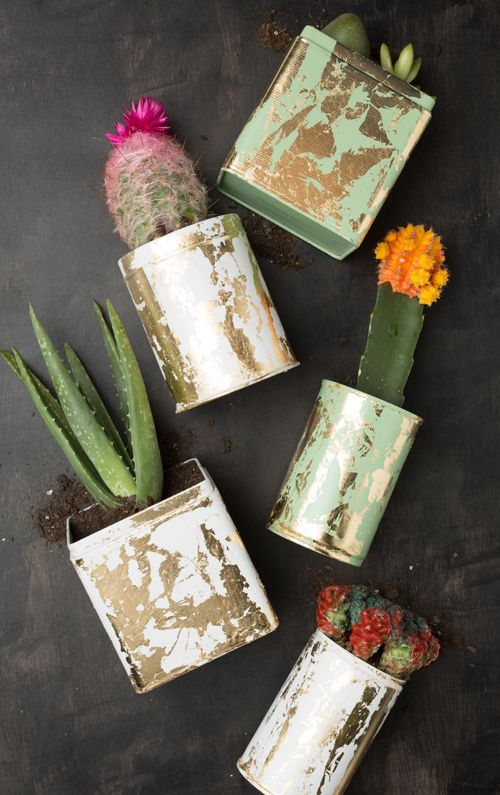 These gold leaf planters by The House That Lars Built look so great paired with succulents!