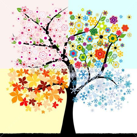 árbol de cuatro estaciones — Ilustración de stock #4420918