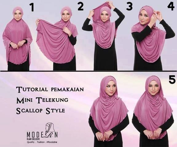 Mini telekung Scallop Style Hijab Tutorial