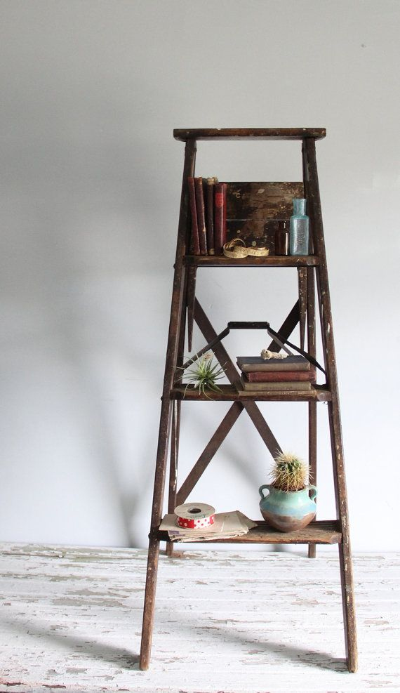rustic shelf ladder vintage wooden ladder rustic farmhouse decor bookshelf 11834