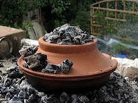 Nice cooking pot covered in coals which was a common technique