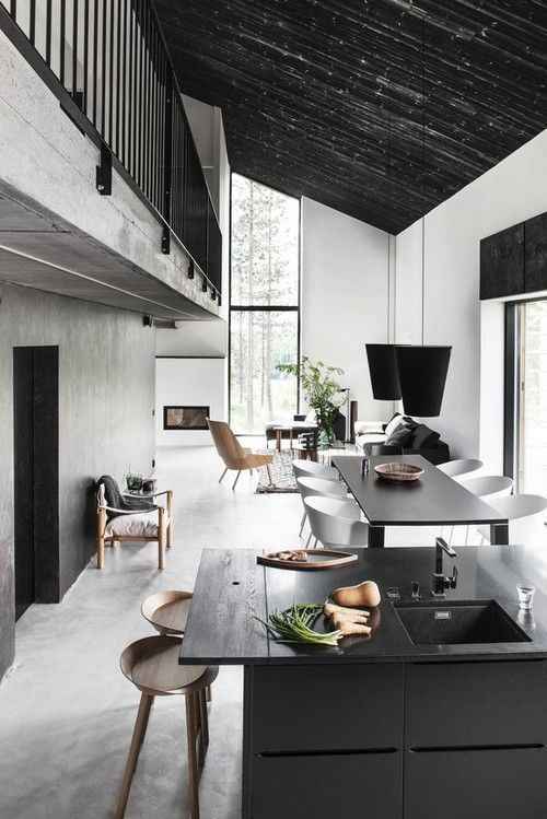 Home Design, Open Floor Plan Narrow House Living Room Dining Room Kitchen  Black Ceiling Loft Second Floor Two Story: Cool Minimalist House D.
