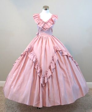 Pink full sweep southern belle dress, new at www.civilwarballgowns.com