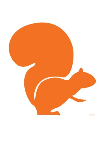 Orange Squirrel Print by Avalisa at Art.com