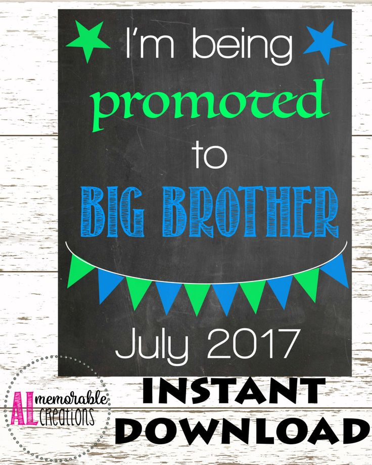 Pregnancy Announcement Photo Prop/Promotion to Big Brother/Expecting Baby Number 2 Chalkboard/Dated July 2017/Pregnancy Chalkboard by ALMemorableCreations on Etsy