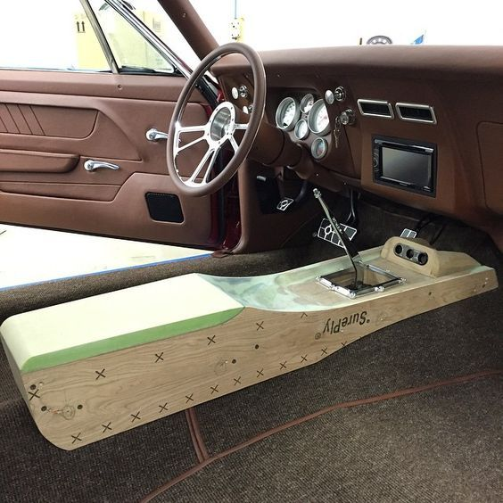 bux customs Center console custom brown pro touring  camaro center:
