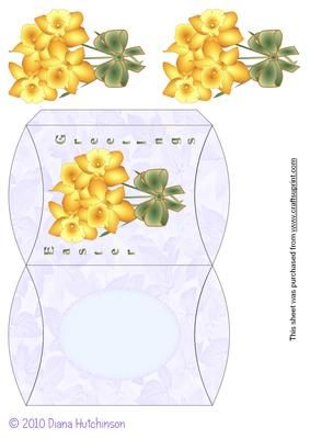 Daffodils Pillow Box on Craftsuprint designed by Diana Hutchinson -