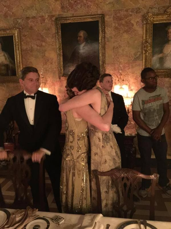 Elizabeth McGovern, who plays Lady Cora on Downton Abbey tweeted a photo of her last day on set and a final hug for one of her on-screen daughters. (and isn't Allen Leech simply THE BEST?)   ..rh