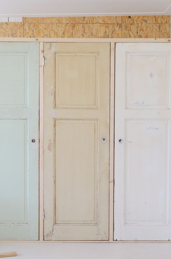 vintage doors for custom-built pantry- can't wait to see the finished look!