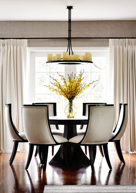 round dinette sets Dining Room Transitional with candelabra candle chandelier contemporary furniture large windows monochrome colour