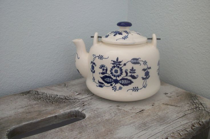 Vintage Blue and White Porcelain Tea Kettle by Armbee made in Japan San Francisco Retro MidCentury by TwoCrazyHearts on Etsy