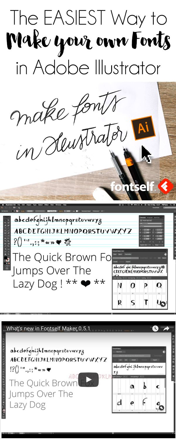 Adobe Illustrator // The EASIEST Way to Make your Own Fonts with Adobe Illustrator CC. I have this and it's super easy and affordable. (affiliate pin)