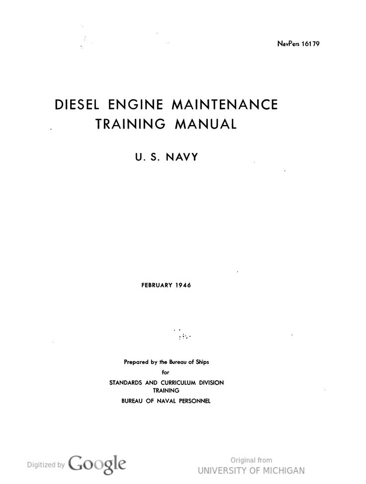 Diesel Engine Maintenance Training Manual Operation and - operation manual