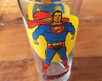 Retro 1976 Superman Glass Pepsi Tumbler drinking cup by National Periodical Publications, Inc