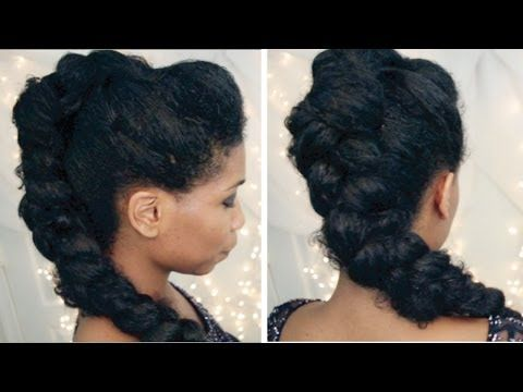 ▶ Selena Gomez Braided Mohawk on Natural Hair   Party Clubbing Hairstyles - YouTube