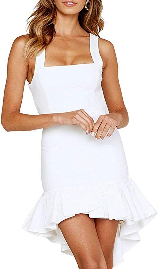 2e916839219b ECOWISH Womens Bodycon Backless Cocktail Dress Sleeveless Ruffled Wrap High  Low Sundress White S