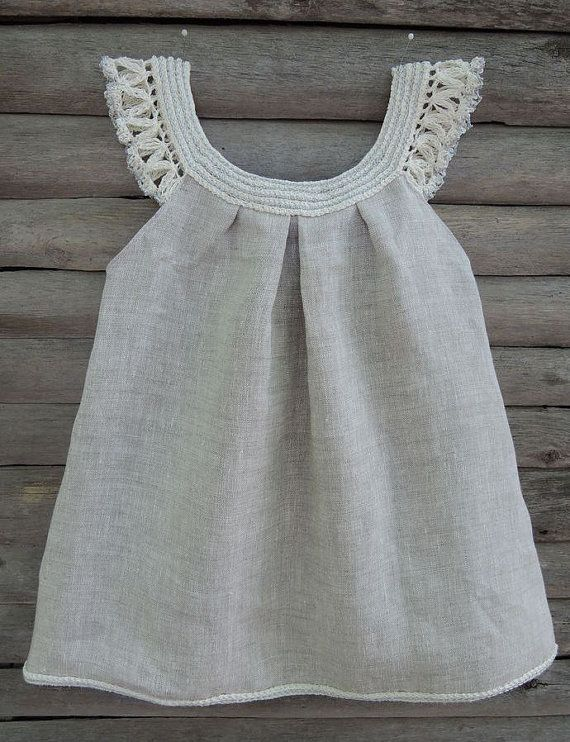 | Handmade organic dress crochet baby dress flowergirl organic dress  linen organic baby clothes |