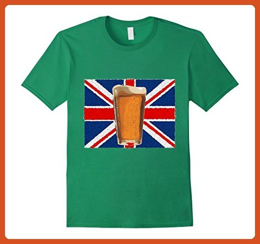 Mens UK British Flag and Pint of Beer London T-shirt  XL Kelly Green - Food and drink shirts (*Partner-Link)
