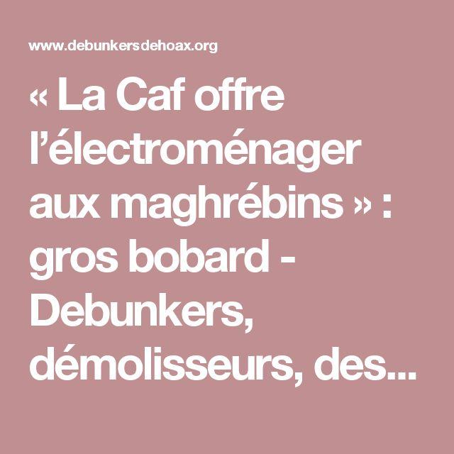 « La Caf offre l'électroménager aux maghrébins » : gros bobard - Debunkers, démolisseurs,  des rumeurs/hoax d'extrême droite