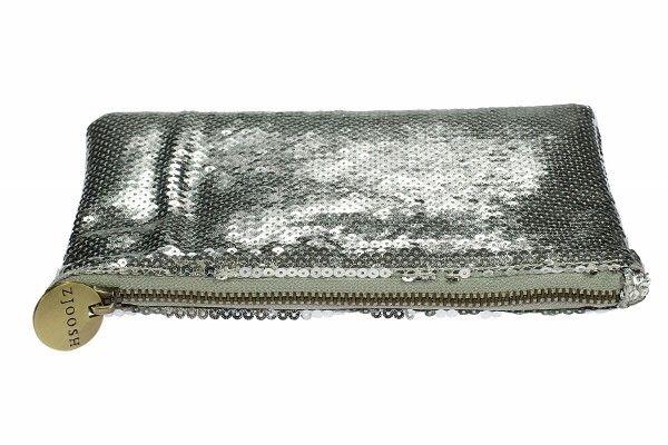 Sequin Clutch Matte Silver