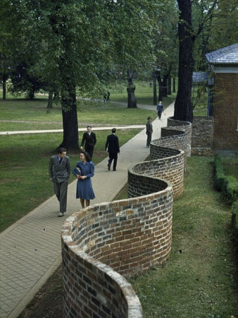 University of Virginia Serpentine Wall designed by Thomas Jefferson  art.com