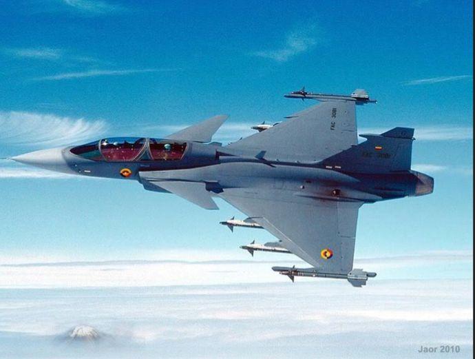 Colombian Air Force KFIR Israeli built jet fighter over Bogota.