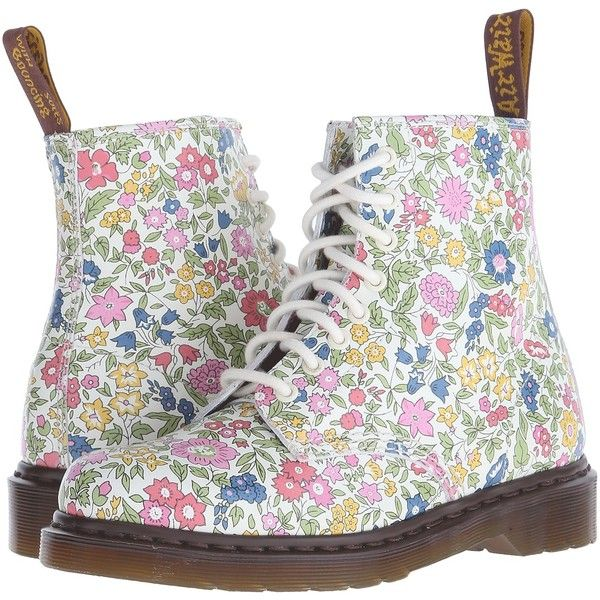 Dr. Martens 1460 Women's Boots ($105) ❤ liked on Polyvore featuring shoes, boots, ankle boots, multi, lace up boots, floral print boots, lace up bootie, lace up platform bootie and short lace up boots