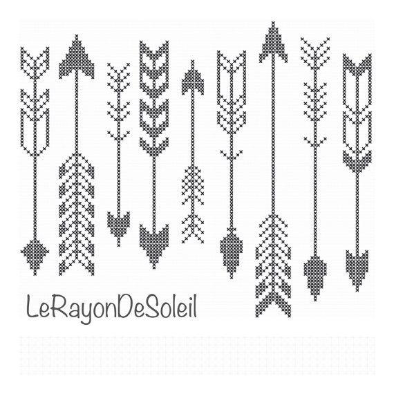 Modern cross stitch pattern indian arrows black by LeRayonDeSoleil