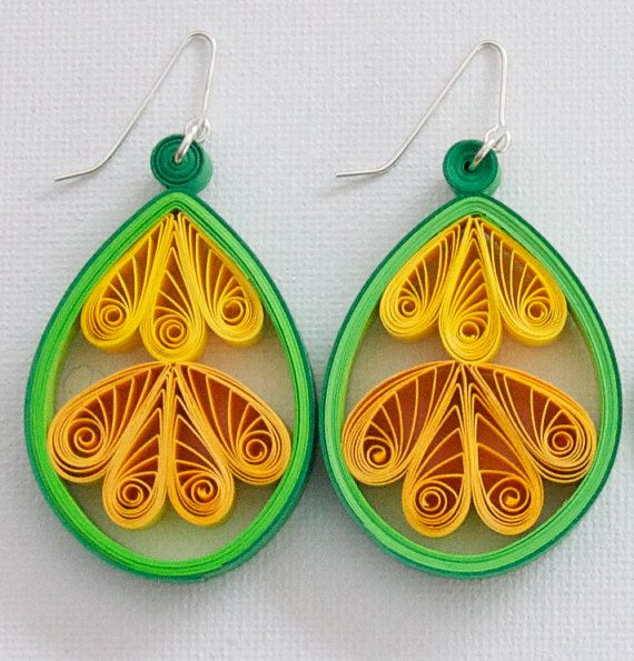 Quilled Paper Scroll Teardrop Earrings with choice of sterling silver, niobium or surgical steel hooks in Medium Size Quilling Wearable Art