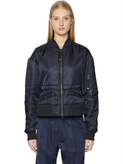DIESEL Short Nylon Bomber Jacket, Navy. #diesel #cloth #casual jackets