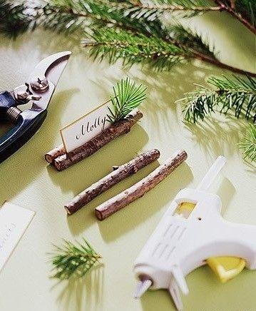 Segnaposto matrimonio fai da te con rametti di legno