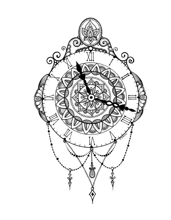 Vintage Wall Clock Zentangle Art Drawings Pen and Ink