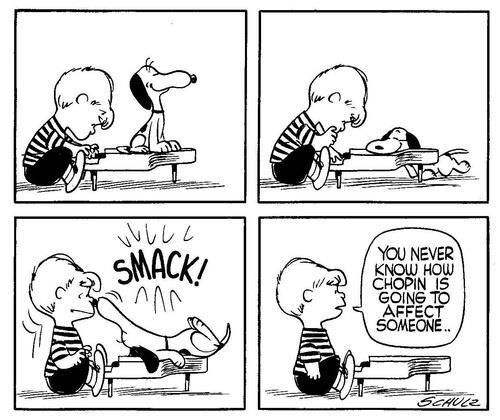 Peanuts Kiss And Makeup: Snoopy Loves Chopin-can You Blame Him?