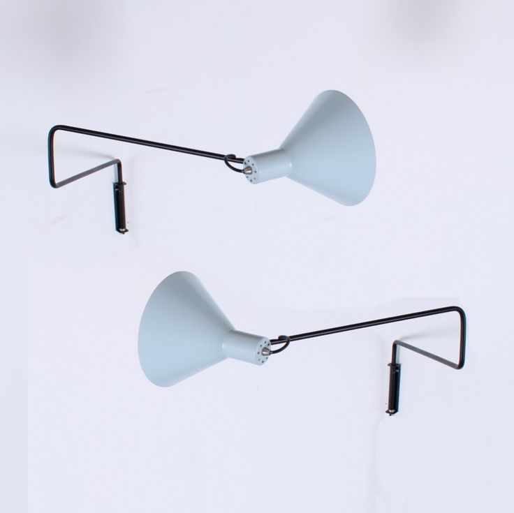 2 Elbow paperclip swinging arm wall lamps from the fifties by J. Hoogervorst for Anvia Almelo