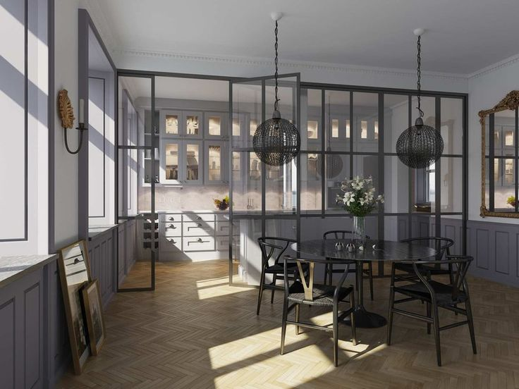 glass partition between kitchen & dining area - nice 3D rendering work